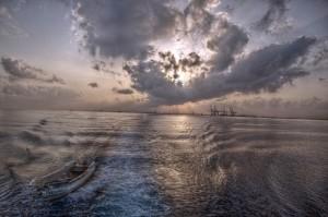 Morgenröte am Hafen